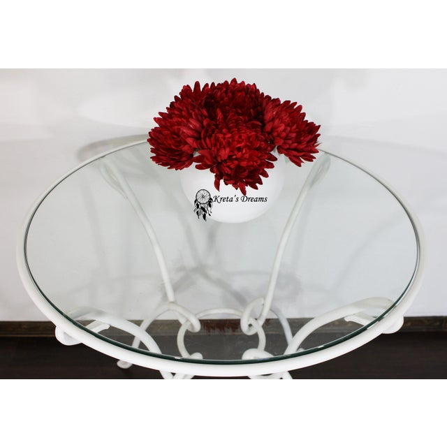 Vintage White Metal Iron Glass Dining Table For Sale - Image 4 of 8