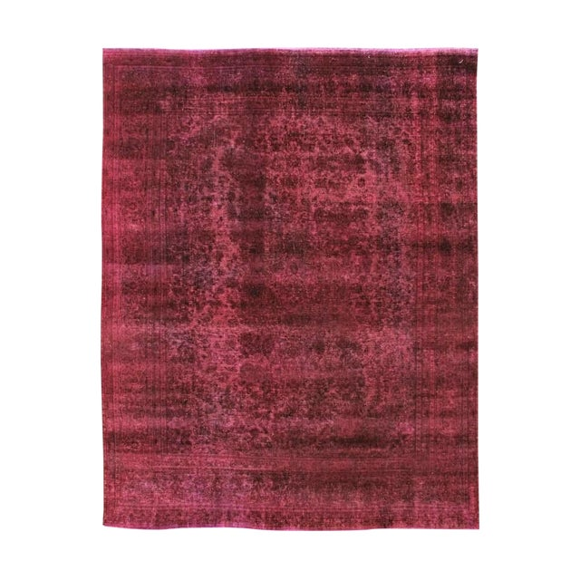 Mid 20th Century Vintage Overdyed Wool Rug For Sale
