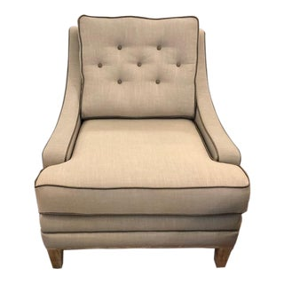 Large Modern Arm Chair in Taupe Linen Fabric With Leather Piping For Sale