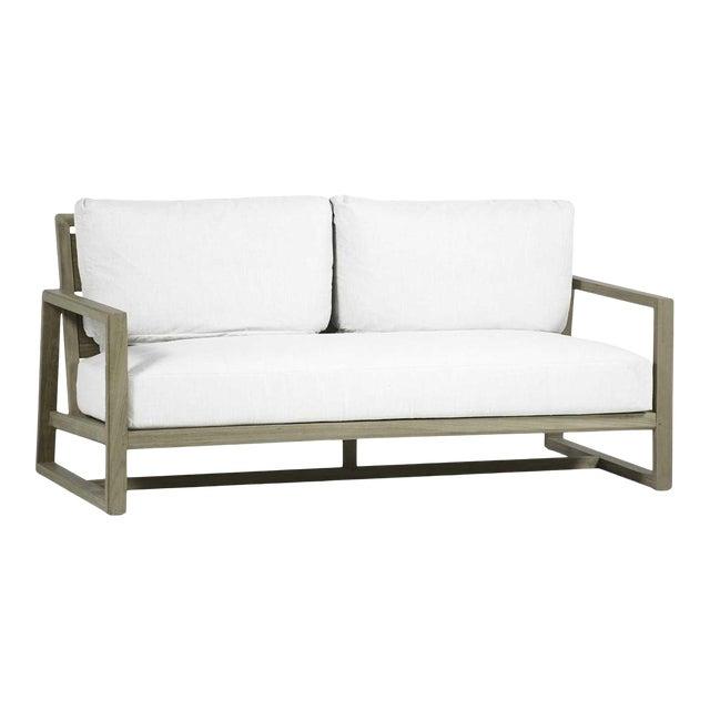 Avondale Teak Sofa in Linen Snow For Sale