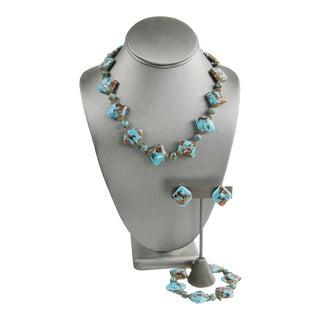Murano Vintage Turquoise Aventurine Glass Parure For Sale
