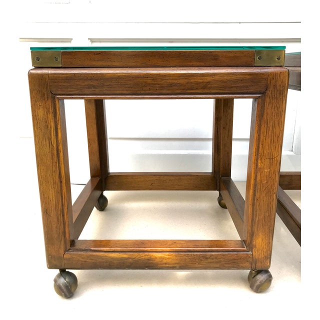 Mid-Century Modern Mid-Century Rolling Cane Tables - a Pair For Sale - Image 3 of 5