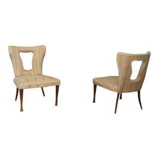 Pair of Gottardi Mario Armchairs in 50's Velvet Silk For Sale