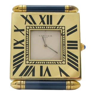 1950s Vintage Cartier Travel Desk Alarm Clock For Sale
