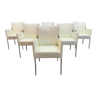 Vintage Italian Creamy White Designer Dining Chairs Restored, Set of 6 For Sale