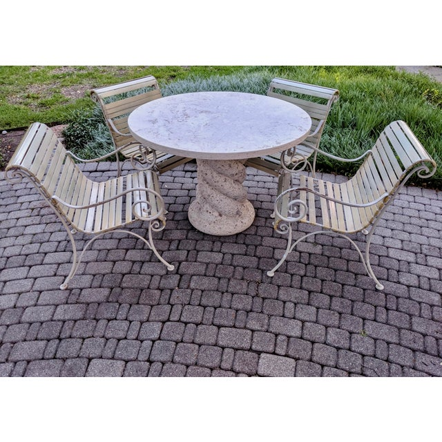 1980s Contemporary Round Travertine Dining Table For Sale - Image 9 of 11