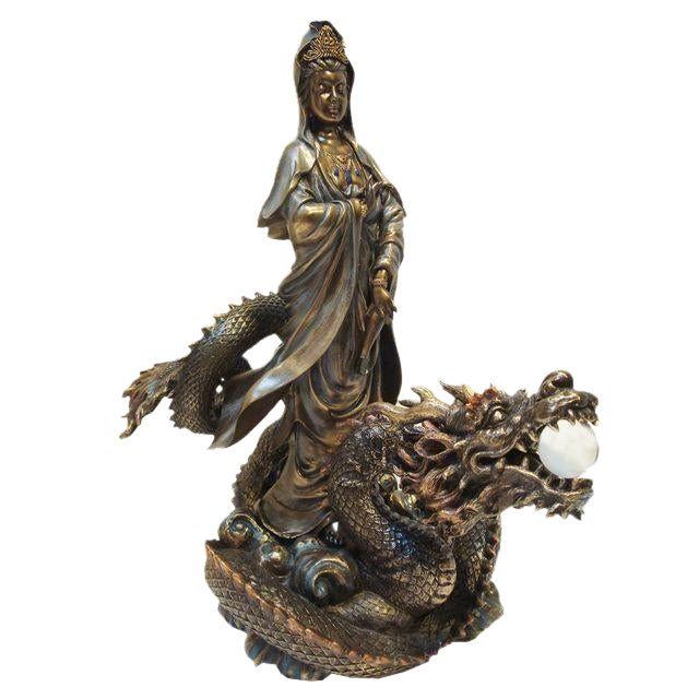 Asian Quan Yin & Dragon Large Sculpture For Sale
