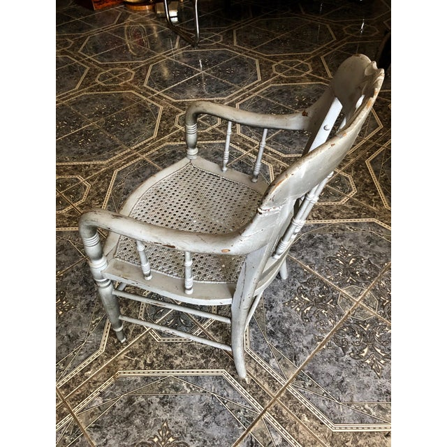 Gray 1940s Vintage Shabby Chic Lilac Wood and Cane Accent Chair For Sale - Image 8 of 13