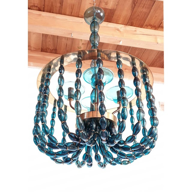 Mid-Century Modern 1960s Large Venini Style Blue Murano Glass Mid Century Modern Chandelier For Sale - Image 3 of 9