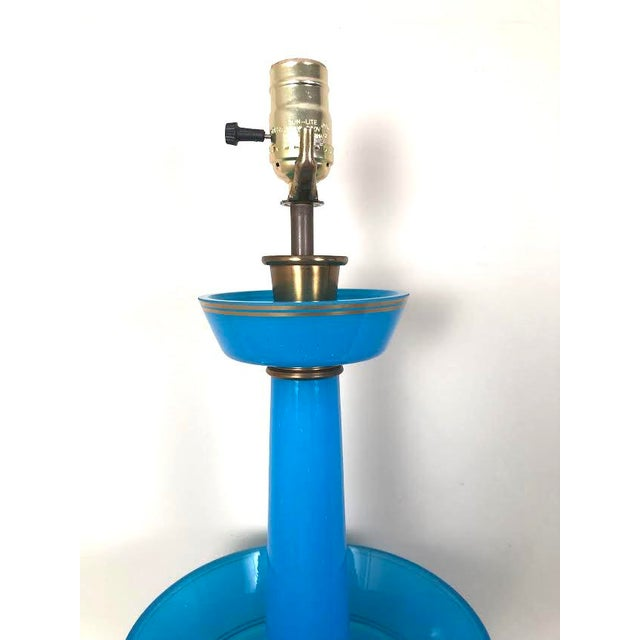 Blue French Blue Opaline Glass Table Lamp For Sale - Image 8 of 9