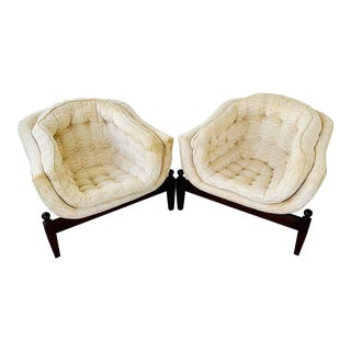 Adrian Pearsall Tufted Bucket Club Chairs- A Pair For Sale