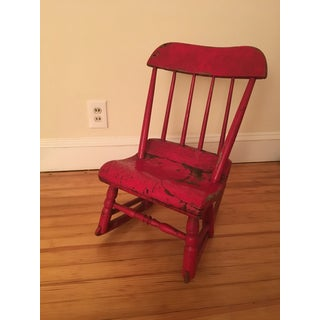 Early 19th Century Child's Rustic Red Wooden Rocking Chair Preview