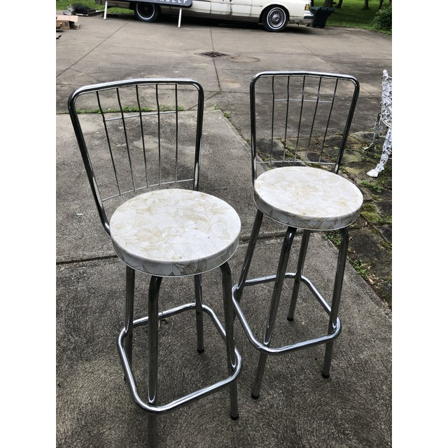 Mid Century Chrome Bar Stools- a Pair For Sale - Image 9 of 9