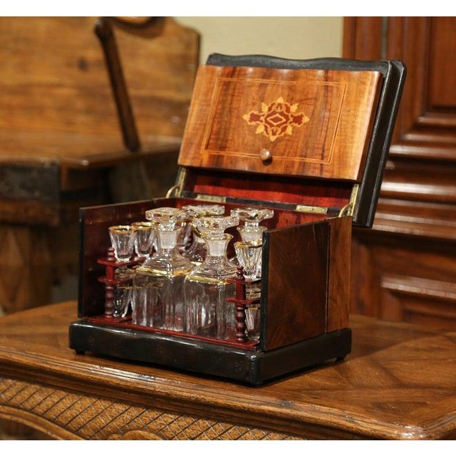Create an elegant bar area with this antique fruitwood liquor box from France. Created circa 1870, the rectangular...