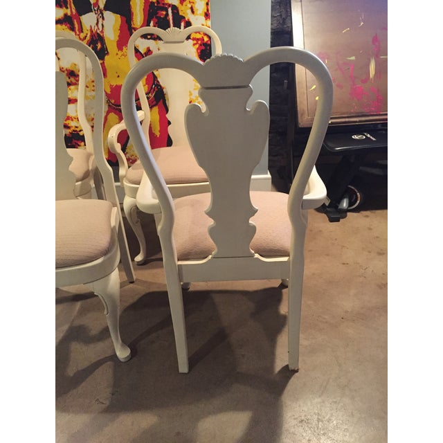 White Wood Dining Chairs - Set of 6 - Image 9 of 11