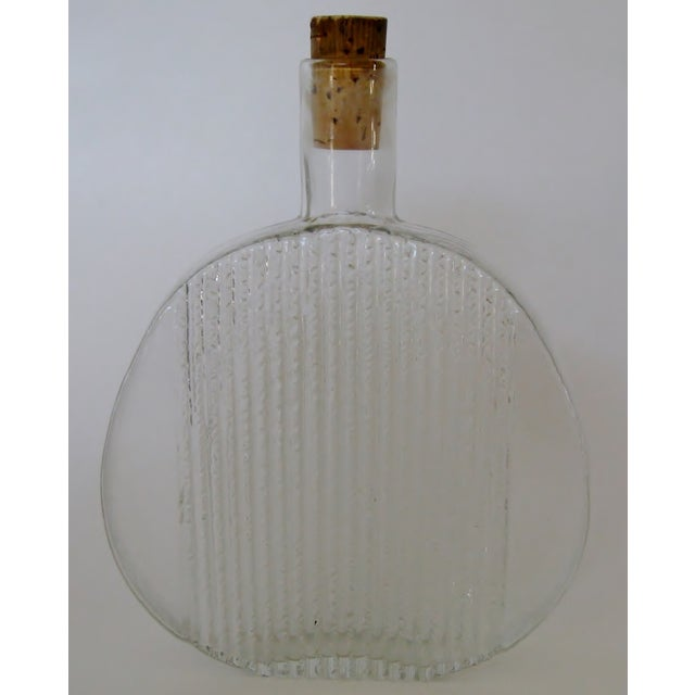 Vintage 1960s Finnish Clear Glass Art Bottle - Image 2 of 4