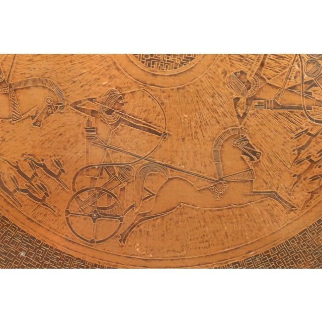 Late 20th Century 20th Century Egyptian Copperstyle Engraved Top Center Table For Sale - Image 5 of 11
