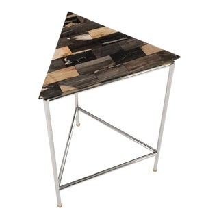 Phillips Collection Petrified Wood Mosaic Triangle Side Table For Sale