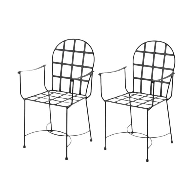 New Garden Armchair in Black Wrought Iron in Style of Salterini For Sale