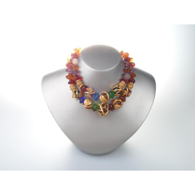 French Art Deco Philippe Ferrandis Gilt Colorful Necklace Paris For Sale - Image 4 of 6