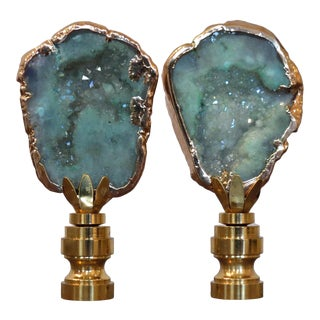 Sparkling Geode Finials in Sea Foam Green Blue With 14kt Gold by C. Damien Fox For Sale