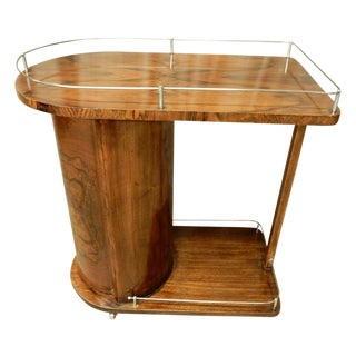 1930's Art Deco Walnut Bar Cart For Sale