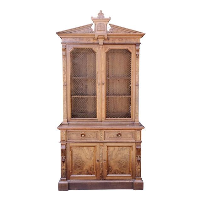 Antique 19th Century Palatial Size Burl Walnut Eastlake Victorian Butler's Secretary Desk C1860 For Sale