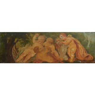 Antique Putti in the Forrest Painting Panel For Sale