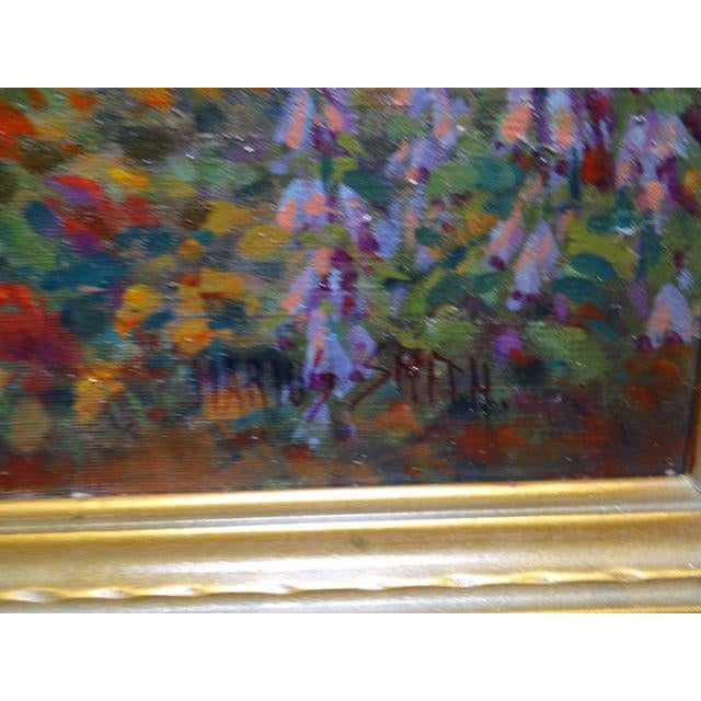 Tan Early 20th Century Antique Marius Smith Mission Floral Landscape Painting For Sale - Image 8 of 9