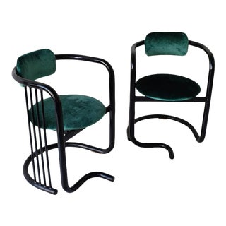 Postmodern Round Accent Chairs- A Pair For Sale