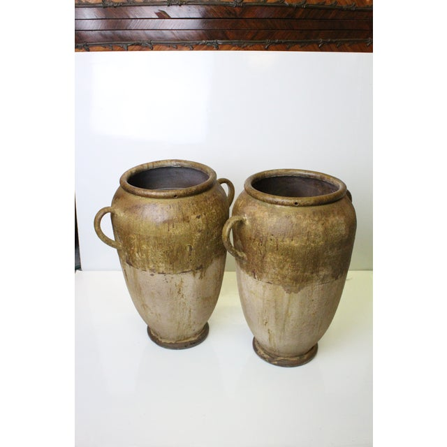 Neoclassical Revival Rustic Aluminum Urns - a Pair For Sale - Image 3 of 7