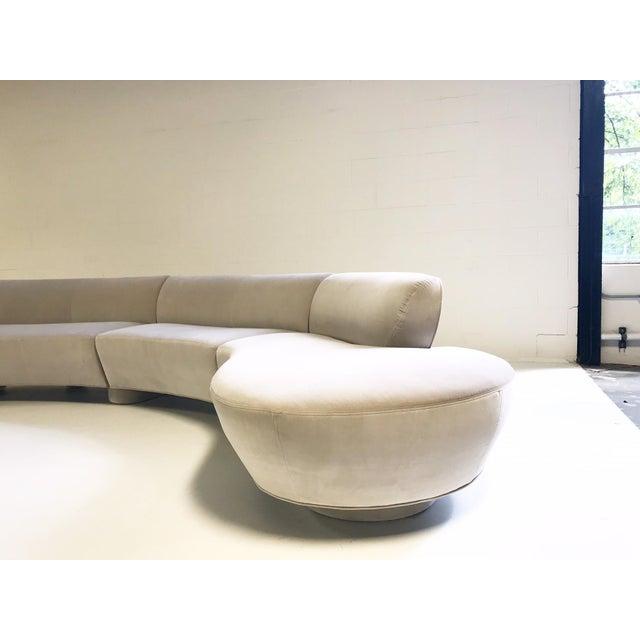 Directional Vintage Vladimir Kagan for Directional Cloud Sofa Restored in Loro Piana Grey Velvet For Sale - Image 4 of 10
