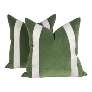 Sage Green Velvet Greek Key Pillows, a Pair For Sale