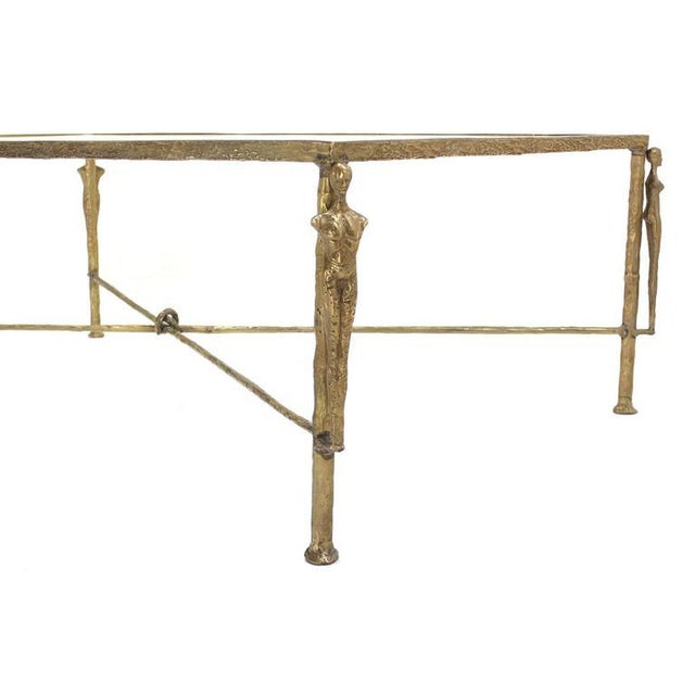 Early 20th Century Large Rectangle Solid Bronze Figural Base Glass-Top Coffee Table For Sale - Image 5 of 7