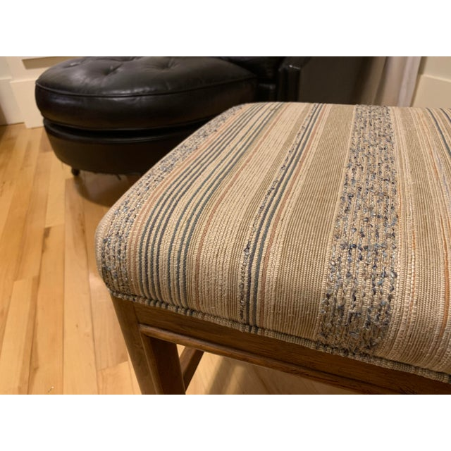Americana 1980s Vintage Drexel Heritage Walnut Rolling Ottomans/Stools- A Pair For Sale - Image 3 of 7