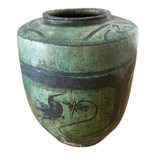Antique Asian Jade Green Jar With Wax Resin Painting of Birds For Sale