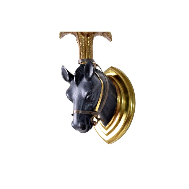 Maison Baguès French Mid-Century Modern Black & Gold Bronze Horse Sconces, Wall Lights - Pair For Sale - Image 4 of 13