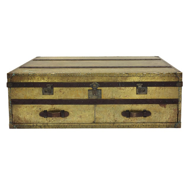 Brass and Leather Trunk Coffee Table - Image 1 of 3