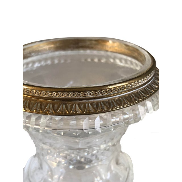 French Miniature Urns Cut Crystal and Bronze - a Pair For Sale - Image 3 of 7