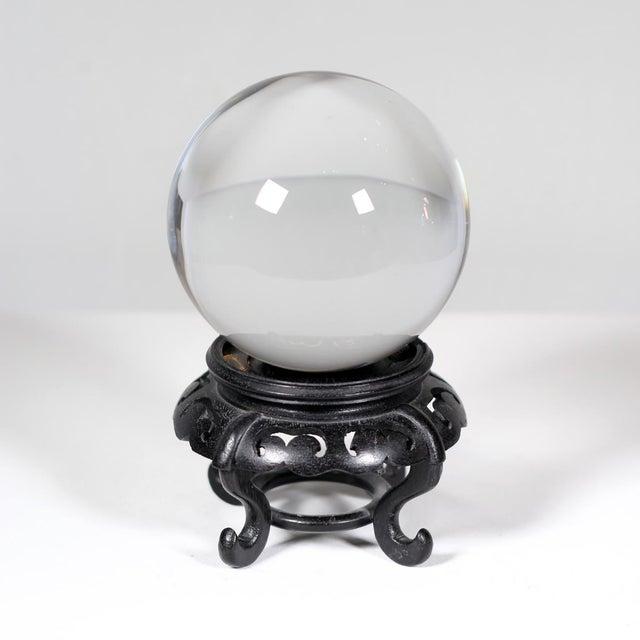 Hardwood Base Chinese Crystal Ball - Image 2 of 3