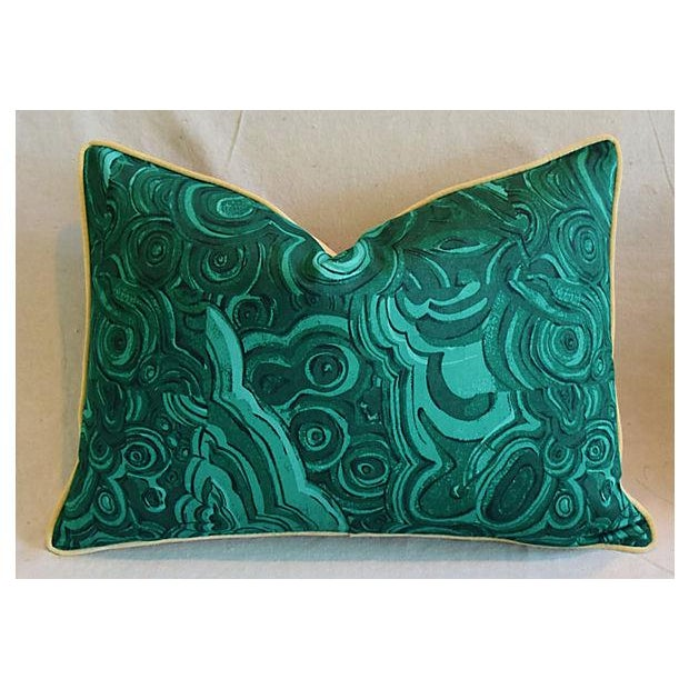 """25"""" X 18"""" Custom Tailored Jim Thompson Malachite Green Feather/Down Pillows - Pair For Sale - Image 4 of 11"""