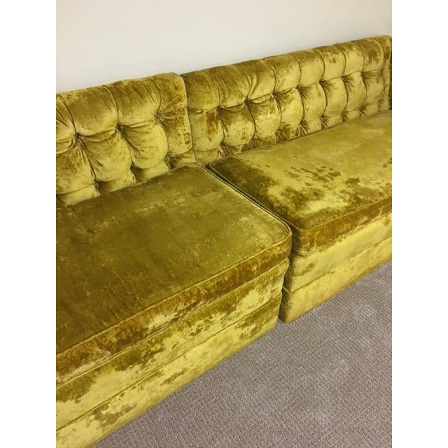 Mid-Century Crushed Gold Velvet Sectional For Sale - Image 4 of 7