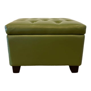 Green Leather Storage Ottoman For Sale