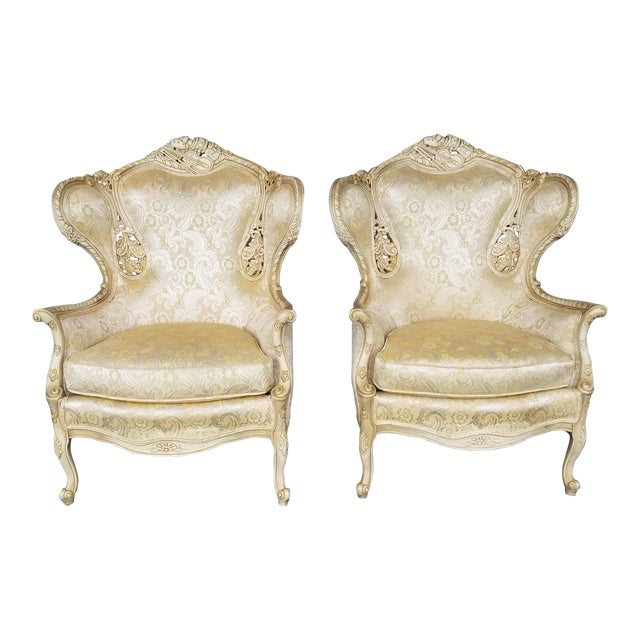Vintage Victorian White Bergere Chairs - a Pair - Image 1 of 5