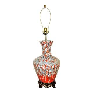 Mid-Century Modern Orange Drip Lava Glaze Table Lamp For Sale