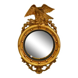 Federal Style Bulls Eye Mirror With Eagle Crest For Sale