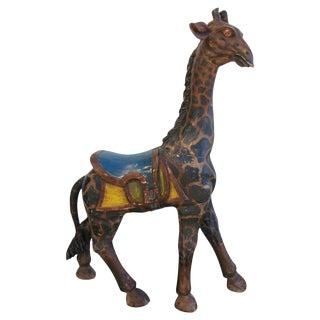 1940s Hand-Carved Wooden Carousel Giraffe For Sale