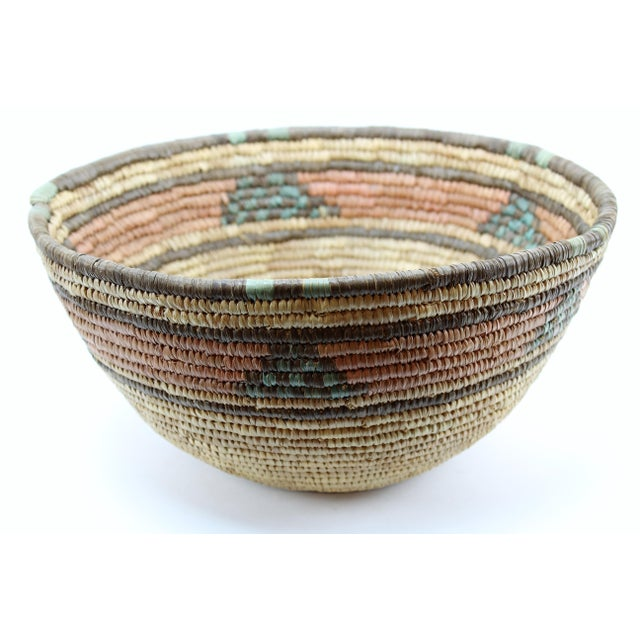 Gorgeous vintage African tribal basket, hand woven grass bowl with inverted bottom. Amazing craftsmanship, from the Hausa...