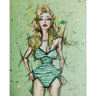 Color Pencil Portrait of Betty Brosmer in Green Stripes on A4 Limited Edition Handmade Paper For Sale