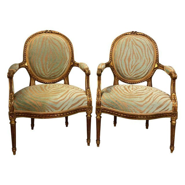 2 Oor Fauteuils.Pair Of Louis Xvi Style Green Zebra Striped Fauteuils Or Armchairs